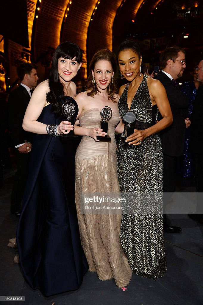 Tony award winners <a gi-track='captionPersonalityLinkClicked' href=/galleries/search?phrase=Lena+Hall&family=editorial&specificpeople=9446196 ng-click='$event.stopPropagation()'>Lena Hall</a>, <a gi-track='captionPersonalityLinkClicked' href=/galleries/search?phrase=Jessie+Mueller&family=editorial&specificpeople=8736414 ng-click='$event.stopPropagation()'>Jessie Mueller</a> and <a gi-track='captionPersonalityLinkClicked' href=/galleries/search?phrase=Sophie+Okonedo&family=editorial&specificpeople=203001 ng-click='$event.stopPropagation()'>Sophie Okonedo</a> pose backstage at the 68th Annual Tony Awards at Radio City Music Hall on June 8, 2014 in New York City.