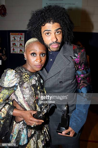 Tony Award Winning actors Cynthia Erivo and Daveed Diggs attend the 70th Annual Tony Awards at The Beacon Theatre on June 12 2016 in New York City