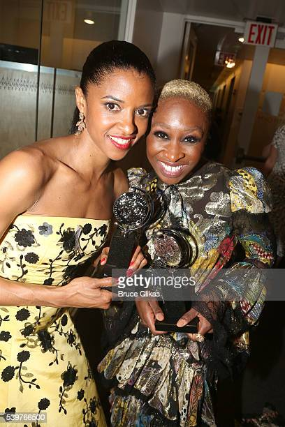 Tony Award winning Actors Renee Elise Goldsberry and Cynthia Erivo pose in the press room at the 70th Annual Tony Awards at The Beacon Theatre on...