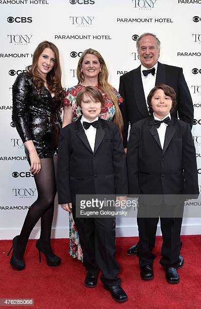 Tony Award Winning Producers Stewart F Lane and Bonnie Comley with their children Leah Lane Lenny Lane and Frankie Lane attend the 2015 Tony Awards...