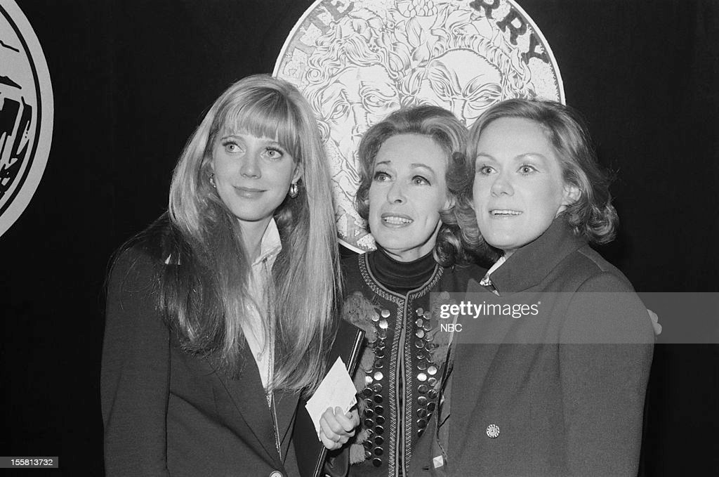 Tony Awards -- 'Nominee Reception' -- Pictured: (l-r) Featured Actress in a play Nominee Blythe Danner, Featured Actress in a Play nominee Eileen Heckart, Lead Actress in a Play nominee Tammy Grimes during the nominee reception for the 24th Tony Awards in 1970 --