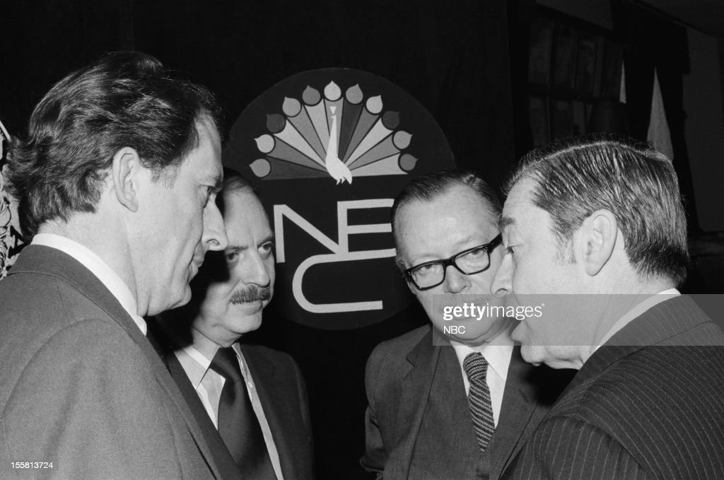 Tony Awards -- 'Nominee Reception' -- Pictured: (l-r) Lead Actor in a Play nominee Fritz Weaver, producer David Merrick, Best Scenic Design nominee Jo Mielziner, unknown during the nominee reception for the 24th Tony Awards in 1970 --