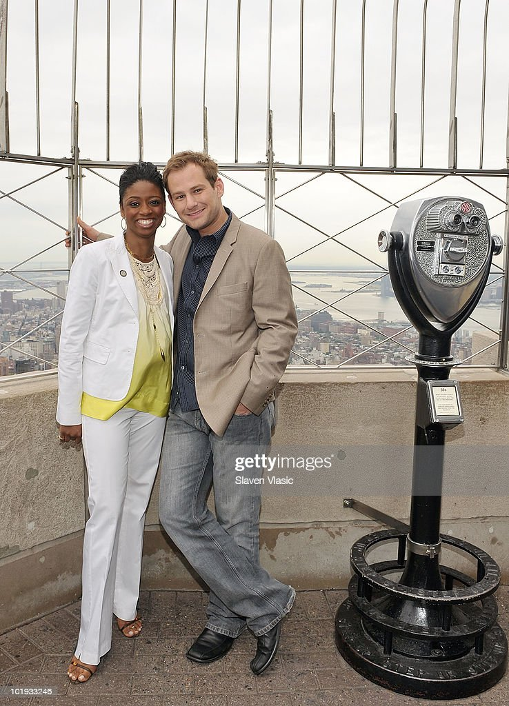 Tony Awards nominees Montego Glover and Chad Kimball visit The Empire State Building on June 9, 2010 in New York City.