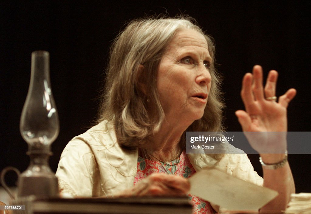 Tony award–winning actress <a gi-track='captionPersonalityLinkClicked' href=/galleries/search?phrase=Julie+Harris+-+Actress&family=editorial&specificpeople=14645339 ng-click='$event.stopPropagation()'>Julie Harris</a> is returning to the Laguna Playhouse to reprise her portrayal of Emily Dickinson in the 'Belle Of Amherst' directed by Charles Nelsen Reilly. Shown here during rehearsals.