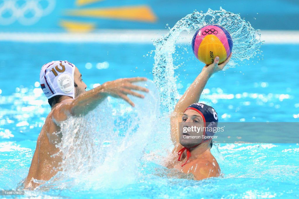 Tony Azevedo of the United States takes a shot at goal during the men's preliminary round Water Polo between Serbia and the United States on Day 8 of the London 2012 Olympic Games at Water Polo Arena on August 4, 2012 in London, England.