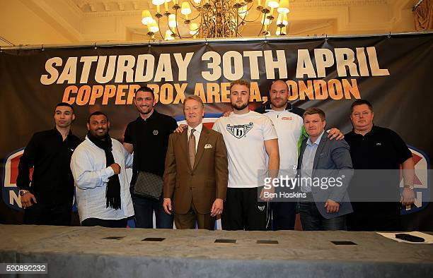 Tony Bange Naseem Hamed Hughie Lewis Fury Frank Warren Nathan Gorman Tyson Fury Ricky Hatton and Mick Hennessy pose for a picture during a Boxing...