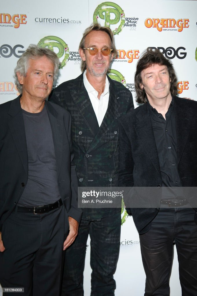 Tony Banks, Mike Rutherford and Steve Hackett attends the Progressive Music Awards at Kew Gardens on September 5, 2012 in London, England.