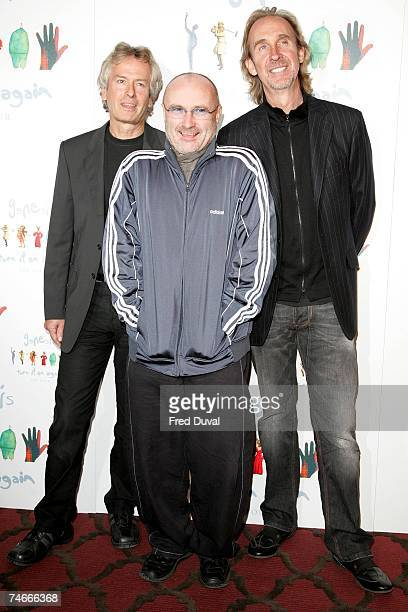 Tony Banks Phil Collins and Mike Rutherford of Genesis at the Genesis 'Turn It On Again Reunion' Tour London Press Conference at Mayfair Hotel in...