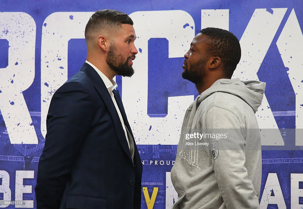 <a gi-track='captionPersonalityLinkClicked' href=/galleries/search?phrase=Tony+Bellew&family=editorial&specificpeople=2132983 ng-click='$event.stopPropagation()'>Tony Bellew</a> and Ilunga Makabu go head to head during a press conference at the Royal Liver Building on May 26, 2016 in Liverpool, England.