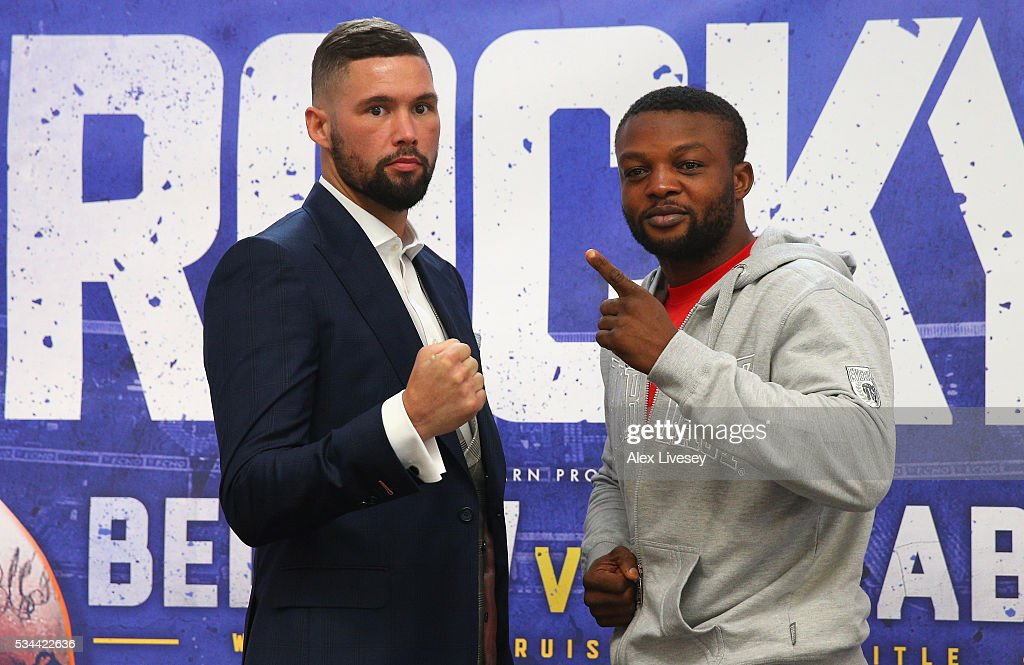 Tony Bellew and Ilunga Makabu go head to head during a press conference at the Royal Liver Building on May 26, 2016 in Liverpool, England.