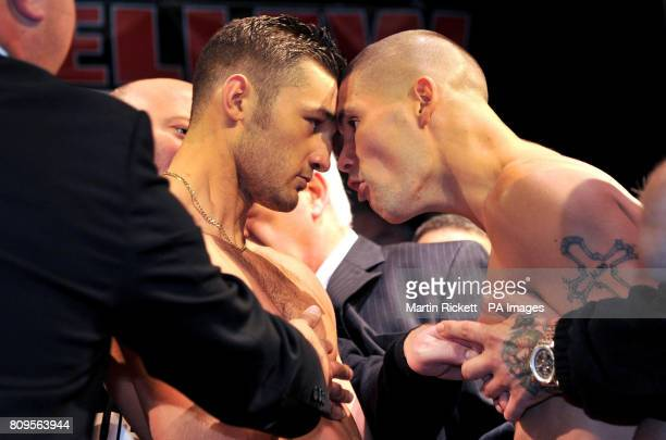 Tony Bellew and Nathan Cleverly go head to head during the weighin at the Contemporary Urban Centre Liverpool