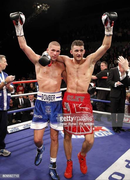 Tony Bellew and Nathan Cleverly react after there WBO LightHeavyweight World Championship at the Echo Arena Liverpool