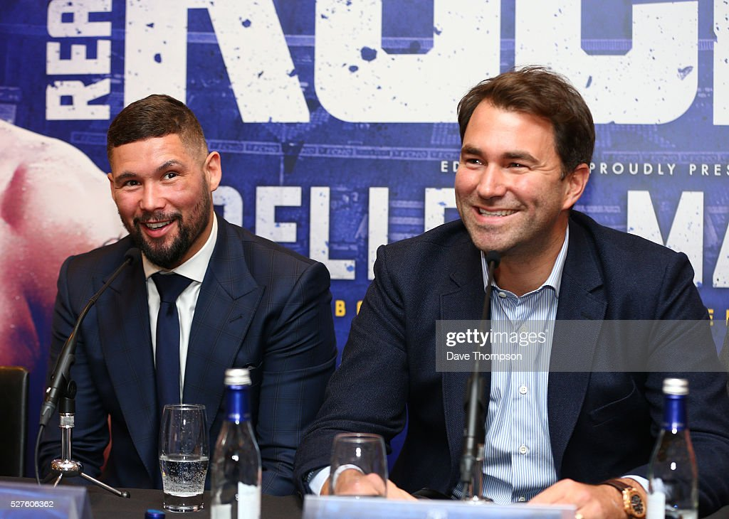 Tony Bellew and promoter Eddie Hearn during a press conference at Goodison Park on May 3, 2016 in Liverpool, England. Bellew will fight Ilunga Makabu for the vacant WBC World Cruiserweight title on May 29 at the home of Everton Football Club.