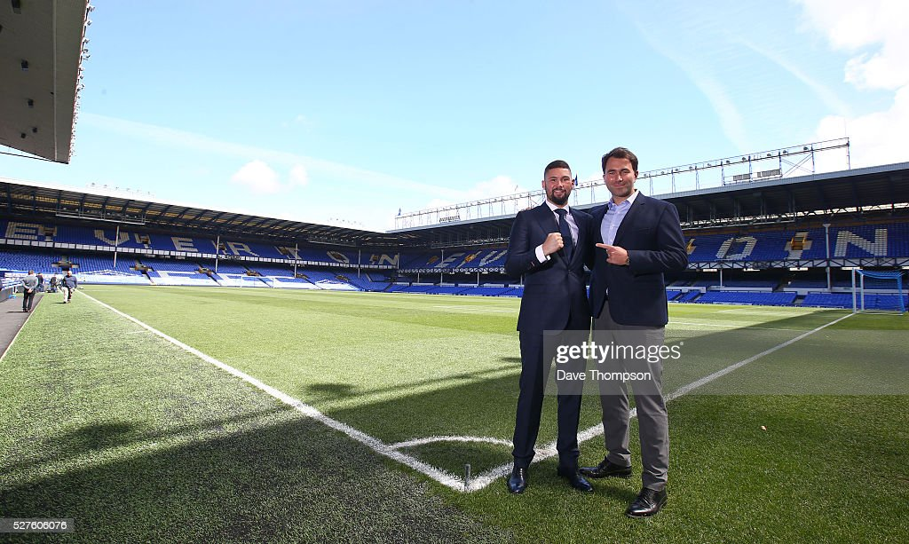 Tony Bellew and promoter Eddie Hearn pose for photographers at Goodison Park on May 3, 2016 in Liverpool, England. Bellew will fight Ilunga Makabu for the vacant WBC World Cruiserweight title on May 29 at the home of Everton Football Club.