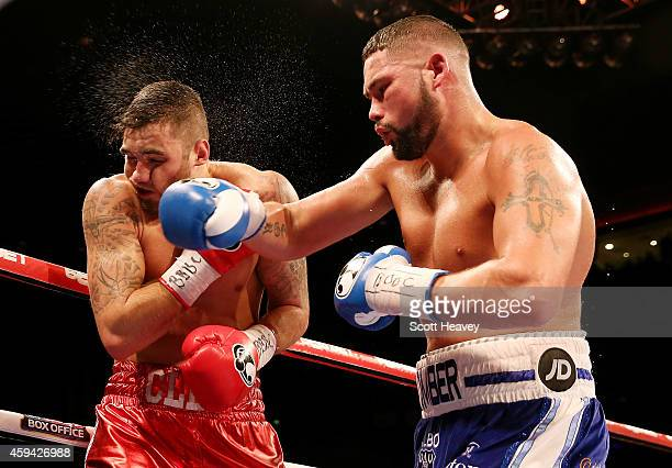 Tony Bellew catches Nathan Cleverly during their Eliminator for the WBO World Cruiserqweight Championship at Liverpool Echo Arena on November 22 2014...