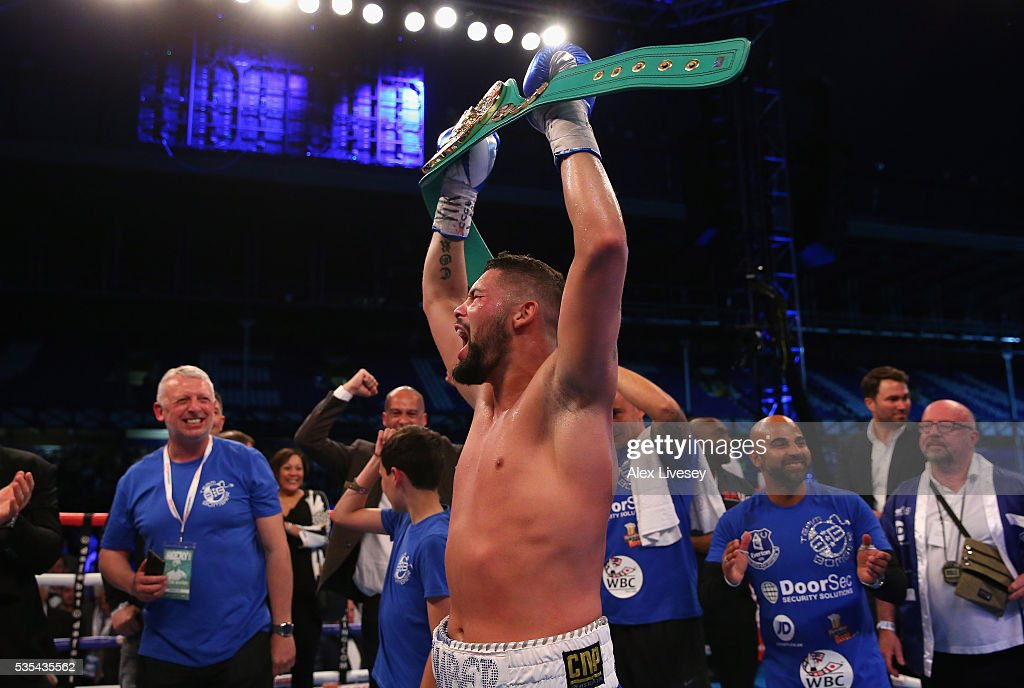 Tony Bellew celebrates after stopping Illunga Makabu in the second round to win the Vacant WBC World Cruiserweight Championship fight between Tony Bellew and Illunga Makabu at Goodison Park on May 29, 2016 in Liverpool, England.