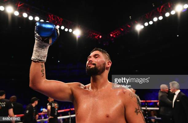 Tony Bellew celebrates an 11th round TKO victory over David Haye after their Heavyweight contest at The O2 Arena on March 4 2017 in London England