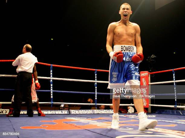 Tony Bellew celebrates beating Hastings Rasani at the Manchester Evening News Arena Manchester