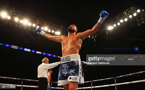 Tony Bellew celebrates during the vacant European Cruiserweight title contest against Mateusz Masternak at The O2 Arena on December 12 2015 in London...