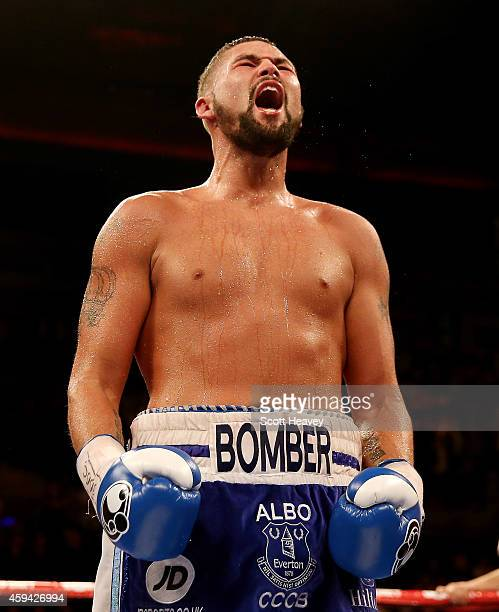 Tony Bellew celebrates his victory over Nathan Cleverly during their Eliminator for the WBO World Cruiserqweight Championship at Liverpool Echo Arena...