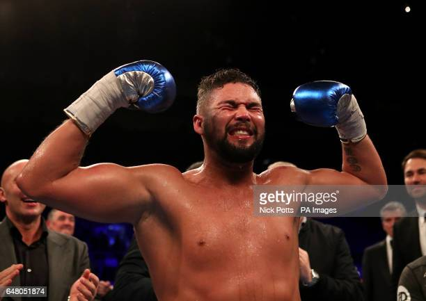 Tony Bellew celebrates victory over David Haye during the heavyweight contest at The O2