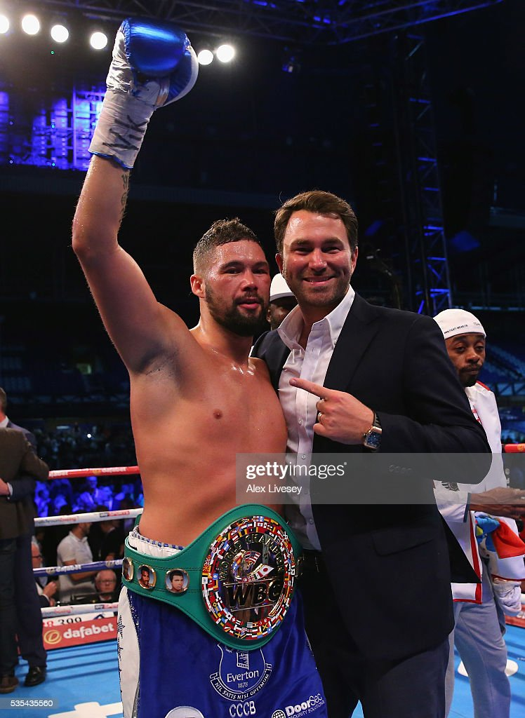 Tony Bellew celebrates with Eddie Hearn after stopping Illunga Makabu in the second round to win the Vacant WBC World Cruiserweight Championship fight between Tony Bellew and Illunga Makabu at Goodison Park on May 29, 2016 in Liverpool, England.
