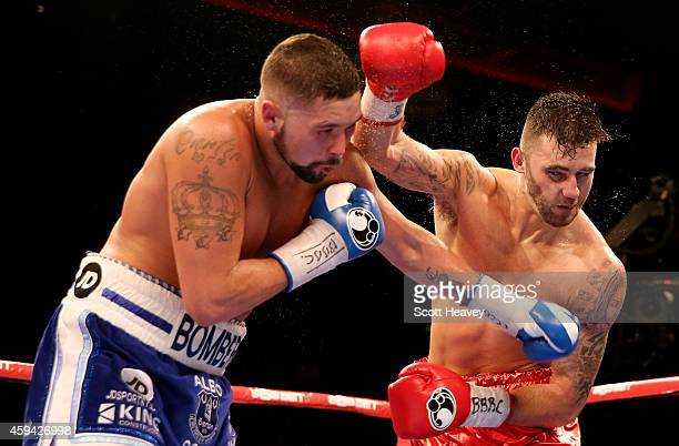 Tony Bellew in action with Nathan Cleverly during their Eliminator for the WBO World Cruiserqweight Championship at Liverpool Echo Arena on November...