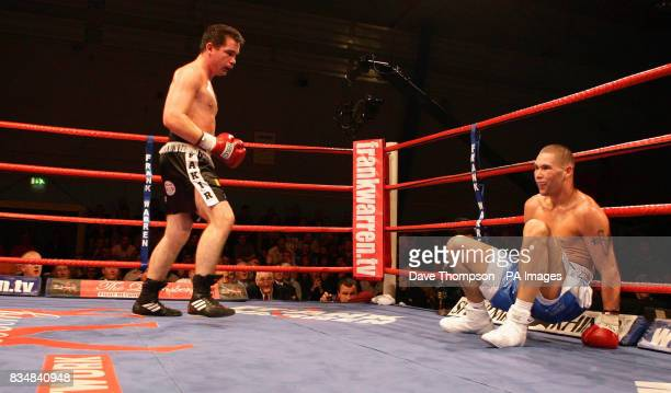 Tony Bellew is knocked down by Jevgenijs Andrejevs during their LightHeavyweight bout at Everton Park Sports Centre Liverpool