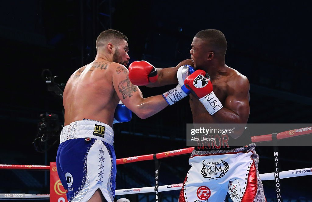<a gi-track='captionPersonalityLinkClicked' href=/galleries/search?phrase=Tony+Bellew&family=editorial&specificpeople=2132983 ng-click='$event.stopPropagation()'>Tony Bellew</a> lands a right shot on Illunga Makabu during the Vacant WBC World Cruiserweight Championship fight between <a gi-track='captionPersonalityLinkClicked' href=/galleries/search?phrase=Tony+Bellew&family=editorial&specificpeople=2132983 ng-click='$event.stopPropagation()'>Tony Bellew</a> and Illunga Makabu at Goodison Park on May 29, 2016 in Liverpool, England.