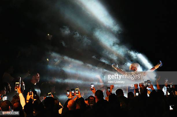 Tony Bellew of England makes his way to the ring for the WBC Cruiserweight Championship match during Boxing at Echo Arena on October 15 2016 in...