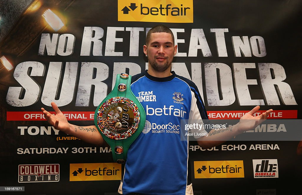 Tony Bellew poses for a portrait after a press conference at the Hilton Hotel on January 9, 2013 in Liverpool, England. Tony Bellew is due to top the bill at Betfairs's 'No Retreat, No Surrender' event on March 30, 2012 at the Echo Arena, Liverpool.