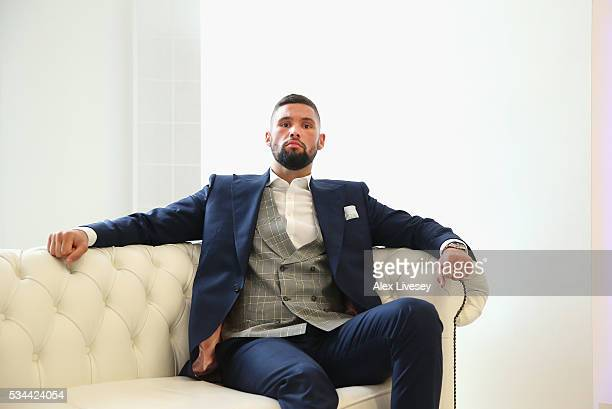 Tony Bellew poses for a portrait after going head to head with Ilunga Makabu during a press conference at the Royal Liver Building on May 26 2016 in...