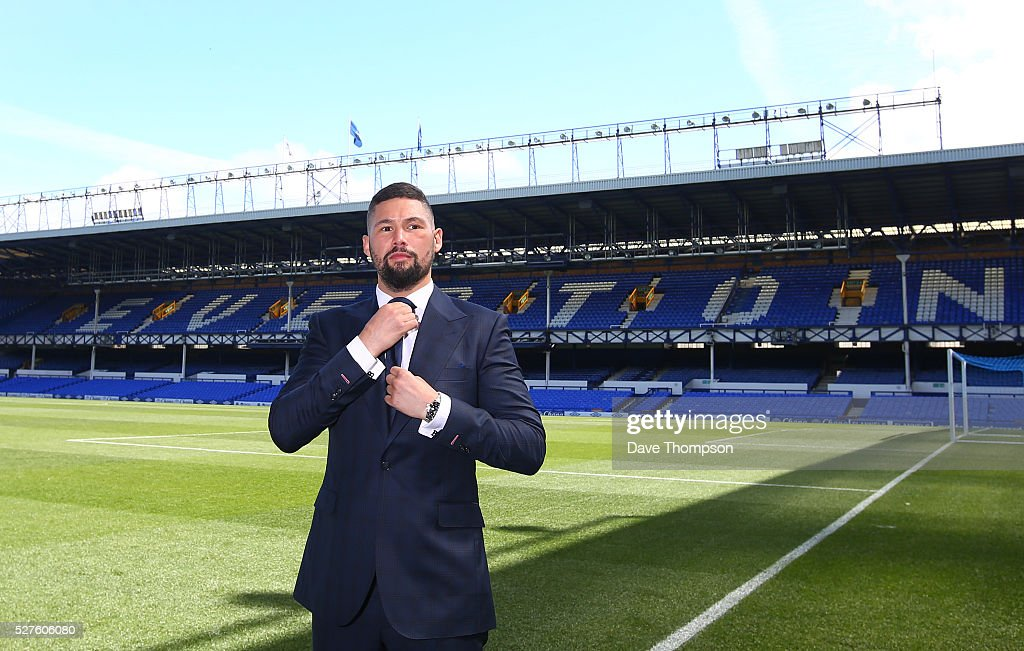<a gi-track='captionPersonalityLinkClicked' href=/galleries/search?phrase=Tony+Bellew&family=editorial&specificpeople=2132983 ng-click='$event.stopPropagation()'>Tony Bellew</a> poses for photographers at Goodison Park on May 3, 2016 in Liverpool, England. Bellew will fight Ilunga Makabu for the vacant WBC World Cruiserweight title on May 29 at the home of Everton Football Club.