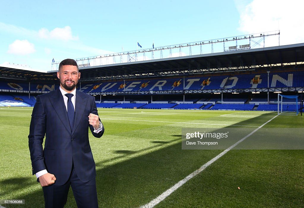 Tony Bellew poses for photographers at Goodison Park on May 3, 2016 in Liverpool, England. Bellew will fight Ilunga Makabu for the vacant WBC World Cruiserweight title on May 29 at the home of Everton Football Club.
