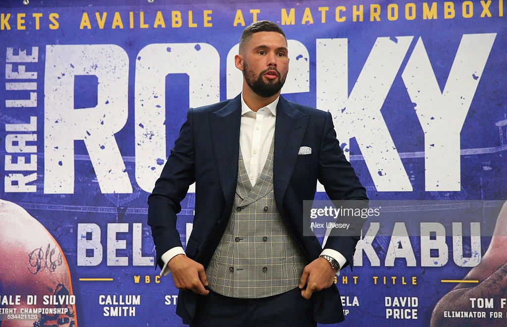 <a gi-track='captionPersonalityLinkClicked' href=/galleries/search?phrase=Tony+Bellew&family=editorial&specificpeople=2132983 ng-click='$event.stopPropagation()'>Tony Bellew</a> poses for photographs after going head to head with Ilunga Makabu during a press conference at the Royal Liver Building on May 26, 2016 in Liverpool, England.