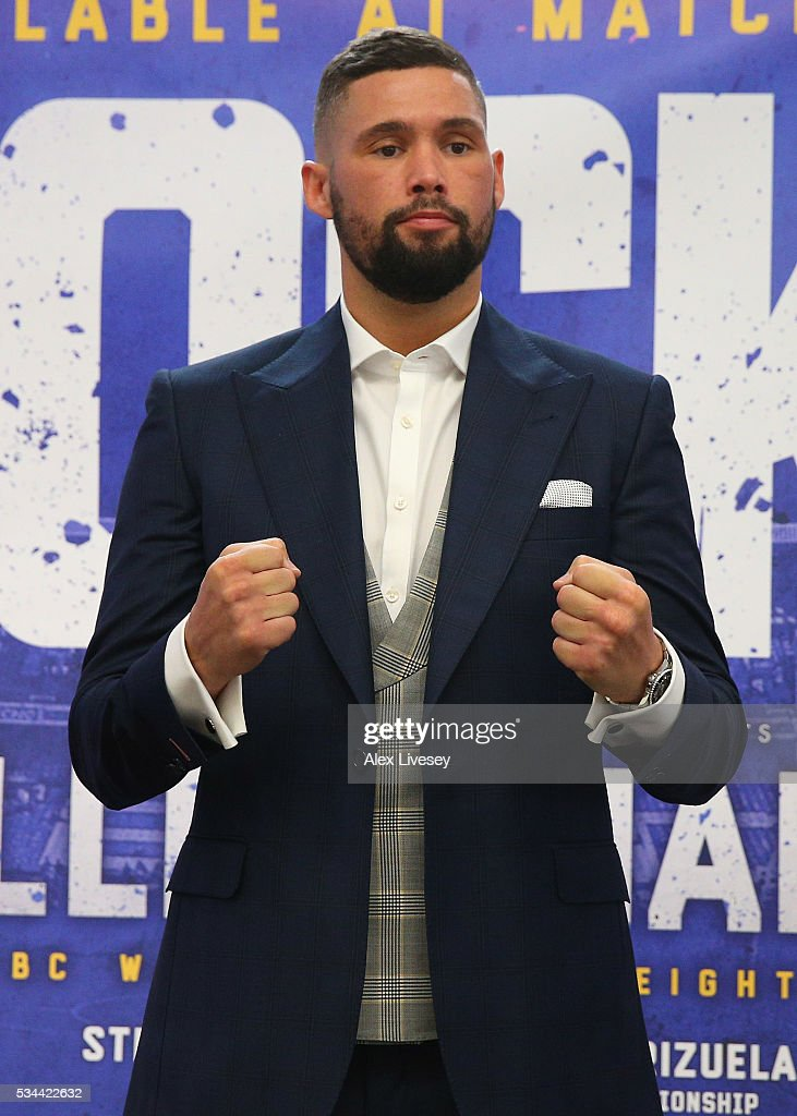 Tony Bellew poses for photographs after going head to head with Ilunga Makabu during a press conference at the Royal Liver Building on May 26, 2016 in Liverpool, England.