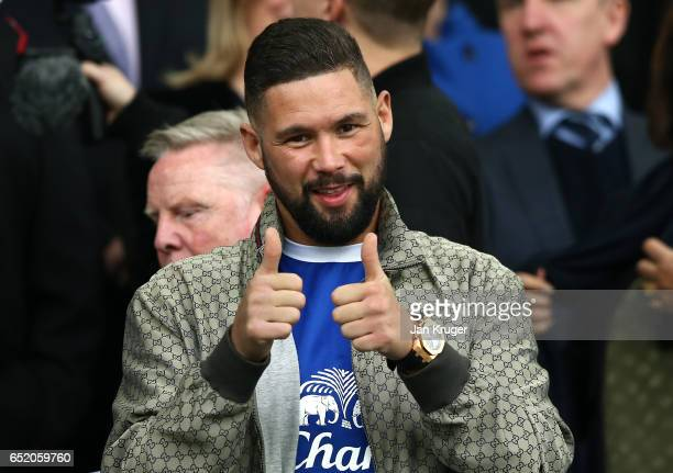 Tony Bellew proffesional boxer is seen in the stands during the Premier League match between Everton and West Bromwich Albion at Goodison Park on...