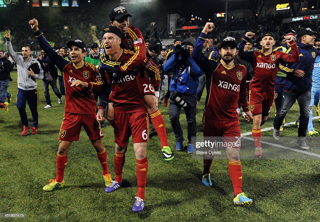 Tony Beltran Nat Borchers Sebastian Velasquez and Ned Grabavoy of Real Salt Lake celebrate after the game against the Portland Timbers at JeldWen...