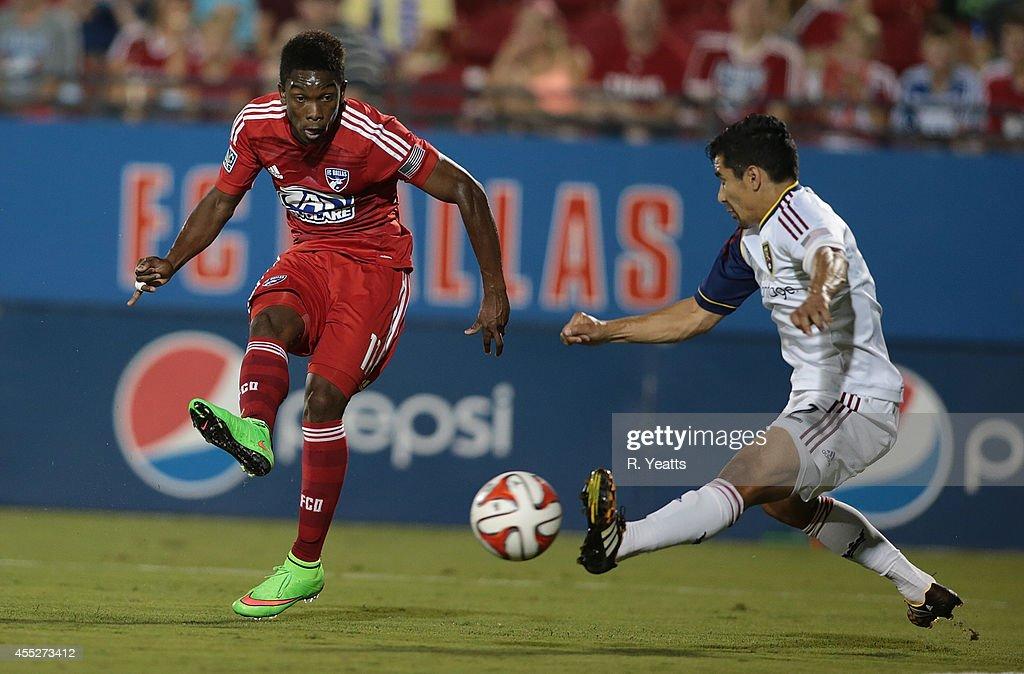 Tony Beltran of Real Salt Lake blocks Fabian Castillo of FC Dallas' kick at Toyota Stadium on August 22 2014 in Frisco Texas