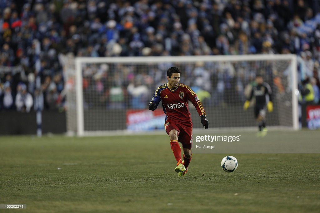 Tony Beltran of Real Salt Lake controls the ball during the MLS Cup Final against the Sporting Kansas City at Sporting Park on December 7 2013 in...
