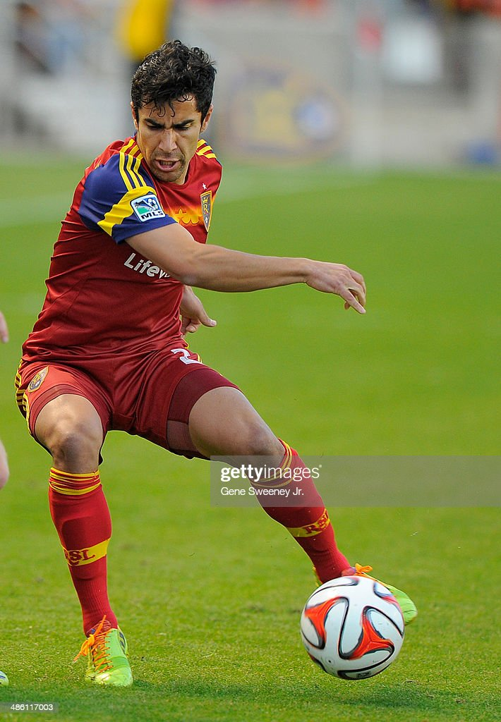 Tony Beltran of Real Salt Lake directs the ball during their game against the Portland TImbers at Rio Tinto Stadium April 19 2014 in Sandy Utah