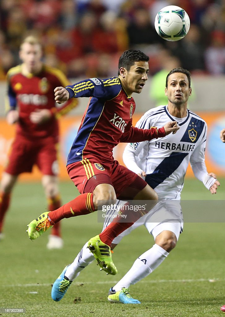Tony Beltran of Real Salt Lake Marcelo Sarvas of Los Angeles Galaxy battle for the ball during the first half of an Western Conference Semifinals MLS...