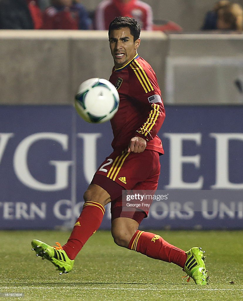 Tony Beltran of Real Salt Lake takes a shot on goal during the first half of the Western Conference Championship Leg 1 against the Portland Timbers...