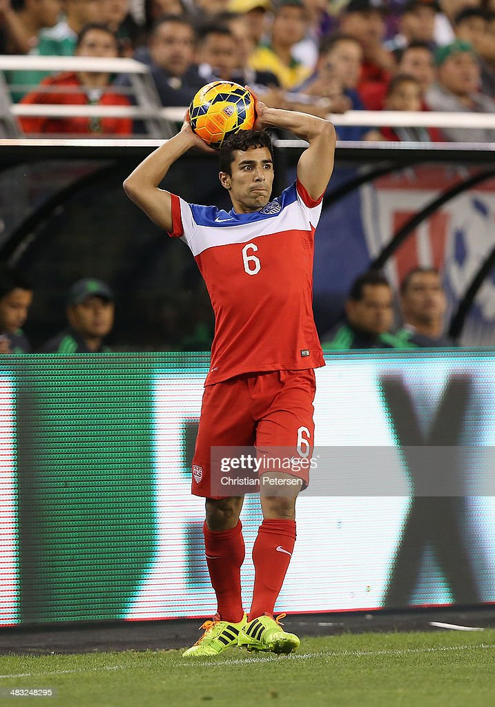 Tony Beltran of USA throws in the ball during the International Friendly against Mexico at University of Phoenix Stadium on April 2 2014 in Glendale...