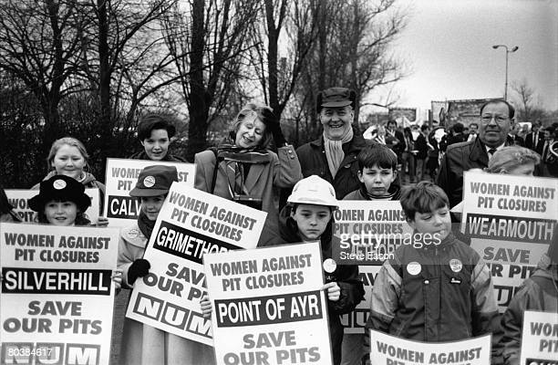 Tony Benn and his wife Caroline demonstrating alongside women and children against the Government's plans to close pits on the Grimethorpe Pit Camp...