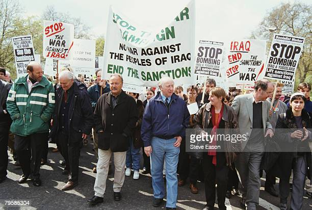 Tony Benn George Galloway and Arthur Scargill leading a demonstration calling for an end to war with Iraq and Yugoslavia 17th April 1999