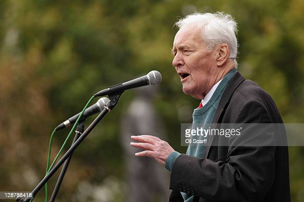 Tony Benn president of the Stop the War Coalition and former politician addresses the crowd at the 'Antiwar Mass Assembly' organised by the Stop the...