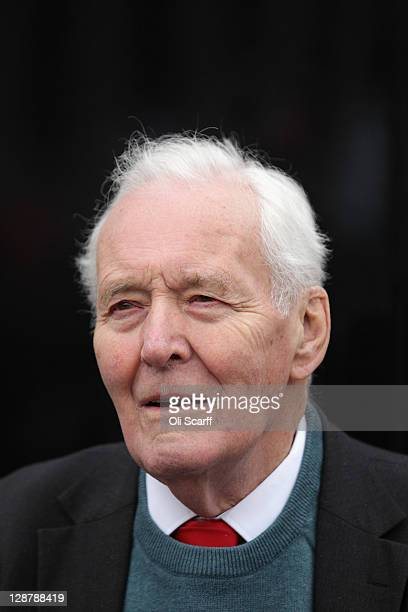 Tony Benn president of the Stop the War Coalition and former politician prepares to address the crowd at the 'Antiwar Mass Assembly' organised by the...