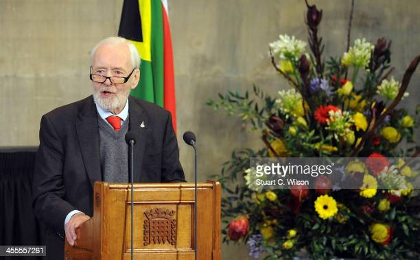 Tony Benn speaks at the Celebration of the Life of Nelson Mandela held at the Westminster Hall House of Commons on December 12 2013 in London England...