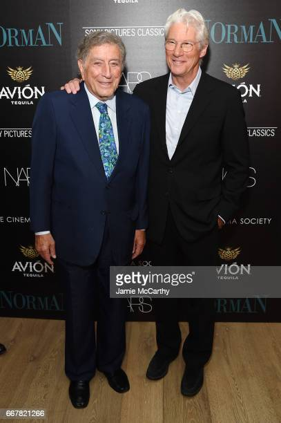 Tony Bennett and actor Richard Gere attend a screening of Sony Pictures Classics' 'Norman' hosted by The Cinema Society at the Whitby Hotel on April...